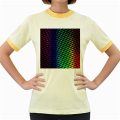 Digitally Created Halftone Dots Abstract Women s Fitted Ringer T Shirts