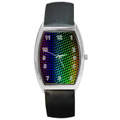 Digitally Created Halftone Dots Abstract Barrel Style Metal Watch