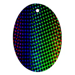 Digitally Created Halftone Dots Abstract Oval Ornament (two Sides)