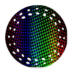 Digitally Created Halftone Dots Abstract Ornament (round Filigree)