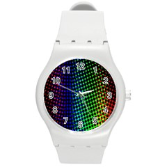 Digitally Created Halftone Dots Abstract Round Plastic Sport Watch (m)
