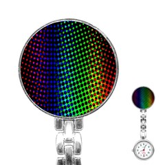 Digitally Created Halftone Dots Abstract Stainless Steel Nurses Watch