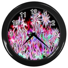 Fractal Fireworks Display Pattern Wall Clocks (black)