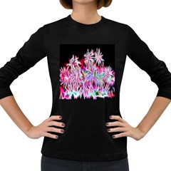 Fractal Fireworks Display Pattern Women s Long Sleeve Dark T Shirts