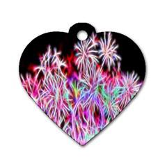 Fractal Fireworks Display Pattern Dog Tag Heart (two Sides)