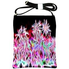 Fractal Fireworks Display Pattern Shoulder Sling Bags