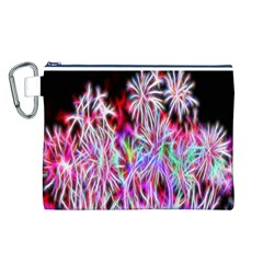 Fractal Fireworks Display Pattern Canvas Cosmetic Bag (l)