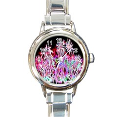 Fractal Fireworks Display Pattern Round Italian Charm Watch