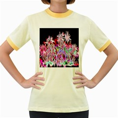 Fractal Fireworks Display Pattern Women s Fitted Ringer T Shirts