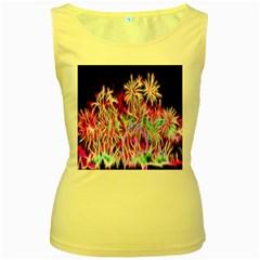 Fractal Fireworks Display Pattern Women s Yellow Tank Top