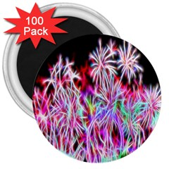 Fractal Fireworks Display Pattern 3  Magnets (100 Pack)