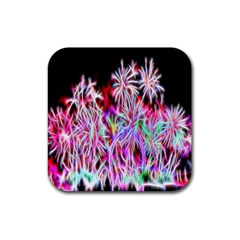 Fractal Fireworks Display Pattern Rubber Coaster (square)