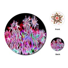 Fractal Fireworks Display Pattern Playing Cards (round)