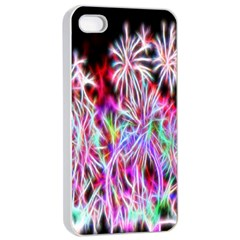 Fractal Fireworks Display Pattern Apple Iphone 4/4s Seamless Case (white)