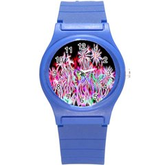 Fractal Fireworks Display Pattern Round Plastic Sport Watch (s)