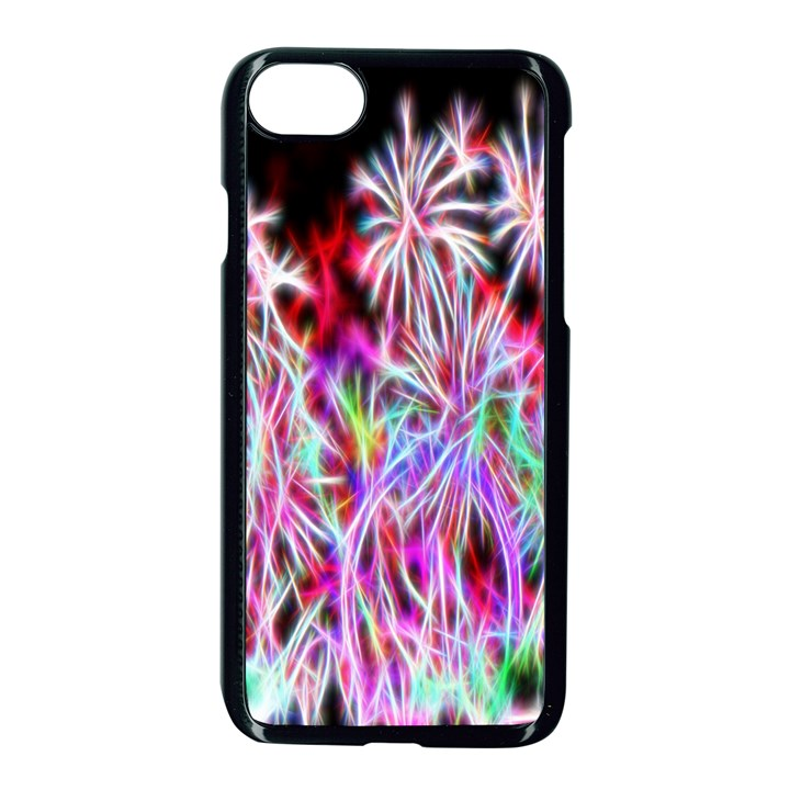 Fractal Fireworks Display Pattern Apple iPhone 7 Seamless Case (Black)