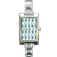 Background Of Beautiful Peacock Feathers Rectangle Italian Charm Watch