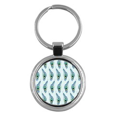 Background Of Beautiful Peacock Feathers Key Chains (round)