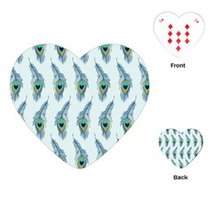 Background Of Beautiful Peacock Feathers Playing Cards (heart)