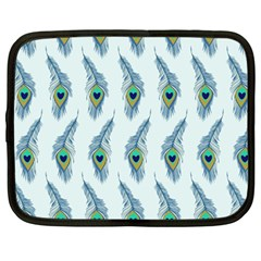 Background Of Beautiful Peacock Feathers Netbook Case (large)
