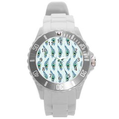 Background Of Beautiful Peacock Feathers Round Plastic Sport Watch (l)