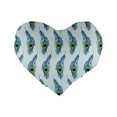 Background Of Beautiful Peacock Feathers Standard 16  Premium Heart Shape Cushions
