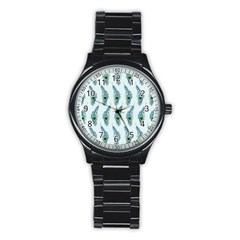 Background Of Beautiful Peacock Feathers Stainless Steel Round Watch