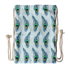 Background Of Beautiful Peacock Feathers Drawstring Bag (large)