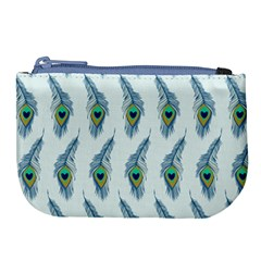 Background Of Beautiful Peacock Feathers Large Coin Purse
