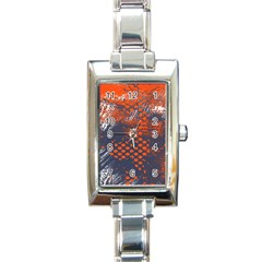 Dark Blue Red And White Messy Background Rectangle Italian Charm Watch