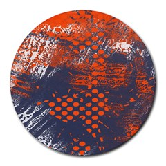 Dark Blue Red And White Messy Background Round Mousepads