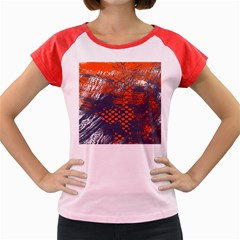 Dark Blue Red And White Messy Background Women s Cap Sleeve T Shirt