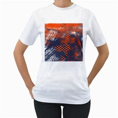 Dark Blue Red And White Messy Background Women s T Shirt (white) (two Sided)
