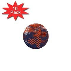 Dark Blue Red And White Messy Background 1  Mini Buttons (10 Pack)