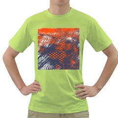 Dark Blue Red And White Messy Background Green T Shirt