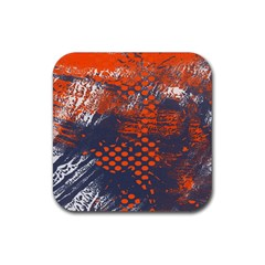 Dark Blue Red And White Messy Background Rubber Square Coaster (4 Pack)