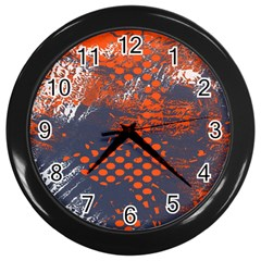 Dark Blue Red And White Messy Background Wall Clocks (black)