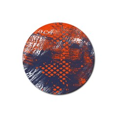 Dark Blue Red And White Messy Background Rubber Coaster (round)