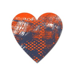 Dark Blue Red And White Messy Background Heart Magnet