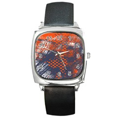 Dark Blue Red And White Messy Background Square Metal Watch