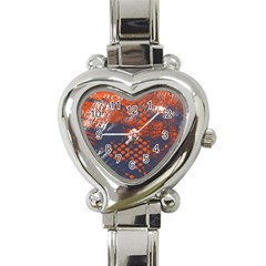 Dark Blue Red And White Messy Background Heart Italian Charm Watch