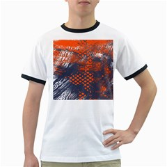 Dark Blue Red And White Messy Background Ringer T Shirts
