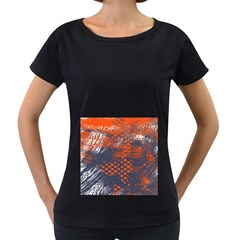 Dark Blue Red And White Messy Background Women s Loose Fit T Shirt (black)