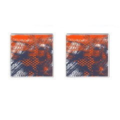 Dark Blue Red And White Messy Background Cufflinks (square)