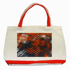 Dark Blue Red And White Messy Background Classic Tote Bag (red)