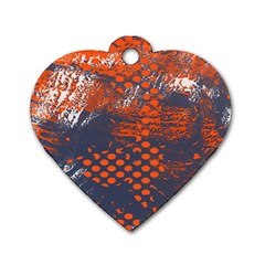 Dark Blue Red And White Messy Background Dog Tag Heart (one Side)