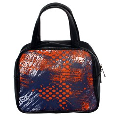 Dark Blue Red And White Messy Background Classic Handbags (2 Sides)