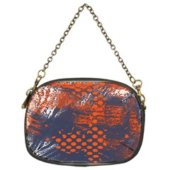 Dark Blue Red And White Messy Background Chain Purses (two Sides)