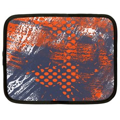 Dark Blue Red And White Messy Background Netbook Case (xl)