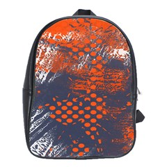Dark Blue Red And White Messy Background School Bags(large)